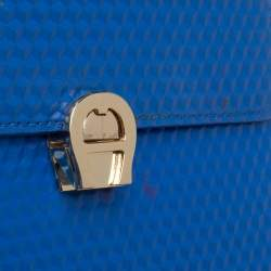 Aigner Blue Embossed Leather Genoveva Top Handle Bag