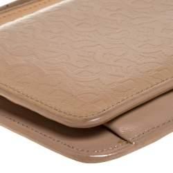 Aigner Beige Signature Embossed Patent Leather Flap Wristlet Wallet