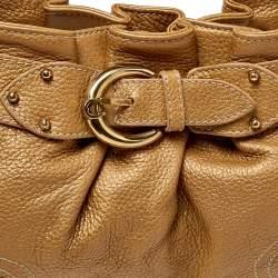 Aigner Metallic Beige Pleated Leather Satchel