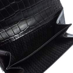 Aigner Black Croc Embossed Continental Wallet