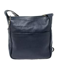 Aigner Navy Blue Grained Leather Zip Messengers Bag