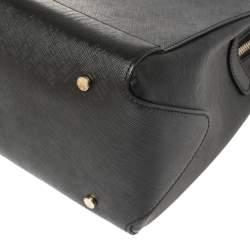 Aigner Black Leather Logo Charm Satchel