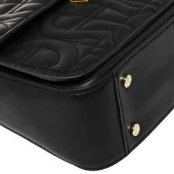 Aigner Black Embossed Leather Genoveva Top Handle Bag