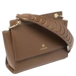 Aigner Brown Leather Flap Shoulder Bag