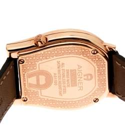 Aigner Mother of Pearl Rose Gold Plated Diamonds Verona A01100 Women's Wristwatch 33 mm