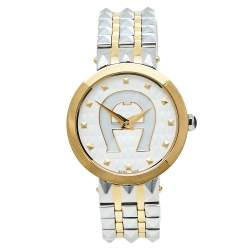Aigner Mother Of Pearl Two-Tone Stainless Steel Prato A13200 Women's Wristwatch 32 mm