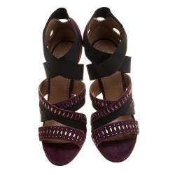 Alaia Bordeaux Studded Suede Cross Strap Peep Toe Sandals Size 41