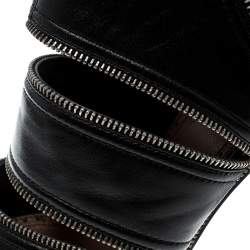 Alaia Black Leather Peep Toe Zipper Booties Size 39