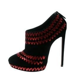 Alaia Black Suede Zig Zag Embroidered Platform Booties Size 41