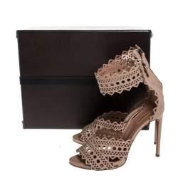 Alaia Beige Leather Laser Cut Out Sandals Size 40