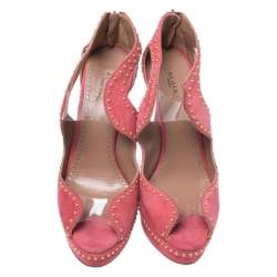 Azzedine Alaia Pink Suede And PVC Studded Peep Toe Platform Sandals Size 38
