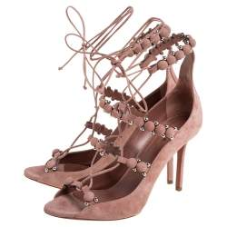 Alaia Beige Suede Bombe Embellished Open Toe Ankle Wrap Sandals Size 39