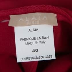 Alaia Ruby Red Stretch Knit Laser Cut Hem Detail Flared Mini Dress M