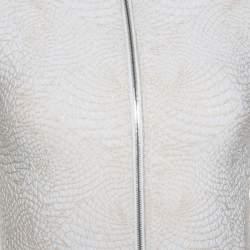 Alaia Cream Jacquard Lurex Knit Zip Front Cardigan S