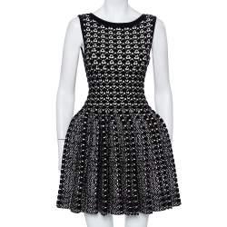 Alaia Monochrome Chunky Knit Sleeveless Skater Dress M