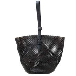 Alaia Black Leather Rose Marie Bucket Bag