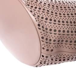 Alaia Pink Leather Laser Cut Mina Shopper Tote