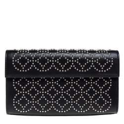 Alaia Black Leather Studded Clutch