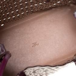 Alaia Plum Leather Mina 32 Tote