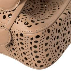 Alaia Vienne Old Rose Leather Laser Cut Bucket Bag