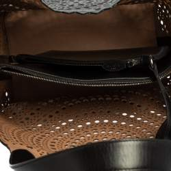 Alaia Black Leather Mina Mini Laser Cut Tote