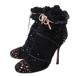 Alaia Black Laser Cut Suede Peep-Toe Ankle Bow Booties Size 40