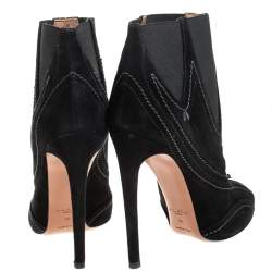 Alaia Black Suede And Elastic Embellished Ankle Boots Size 39