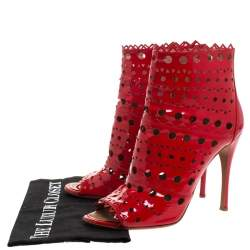 Alaia Red Laser Cut Patent Leather Peep-Toe Ankle Booties Size 39