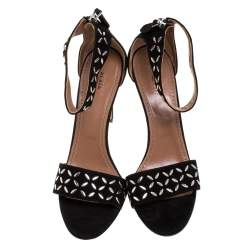 Alaia Black Studded Suede Open Toe Ankle Strap Sandals Size 41