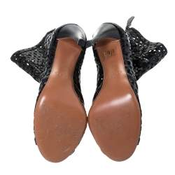 Alaia Black Cut Out Leather Peep-Toe Ankle Booties Size 37