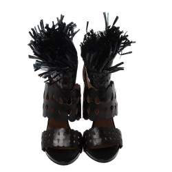 Alaia Black Leather and Straw Cut Out Fringes Sandals Size 38