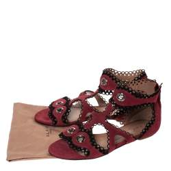 Alaia Maroon Suede Scallop Trim Eyelet Embellished Ankle Cuff Flat Sandals Size 40