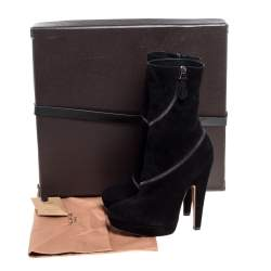 Alaia Black Suede Zip Around Ankle Boots Size 37.5