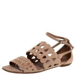 Alaia Beige Laser Cut Suede Open Toe Flat Sandals Size 38.5