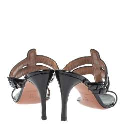 Alaia Black Patent Leather Open Toe Sandals Size 39