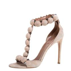 Alaia Beige Suede Studded 'Bombe' T-Strap Ankle Cuff Sandals Size 38.5