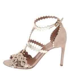 Alaia Beige Suede Laser Cut Ankle Strap Sandals Size 36