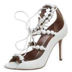 Alaia White Leather Studded Lace Up  Open Toe Sandals Size 35