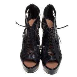 Alaia Black Leather Woven Lace Up Platform Sandals Size 38.5