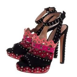 Alaia Multicolor Multicolor Suede Studded Platform Sandals Size 38.5