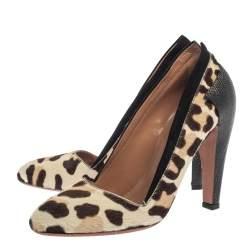 Alaia Paris White Leopard Print Pony Hair Pumps Size 37