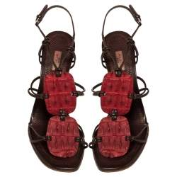 Alaia Red/Brown Croc Leather And Leather Strappy Sandals Size 39