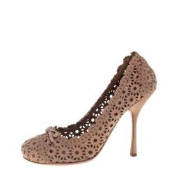 حذاء كعب عالي علايا قصات ليزر سويدي بيج مقاس 36.5
