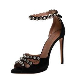 Alaia Black Suede Studded Ankle Strap Sandals Size 40