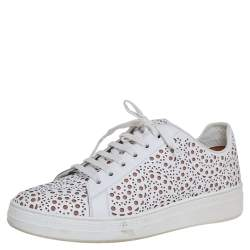 Alaia White Laser Cut Leather Lace Up Sneakers Size 40