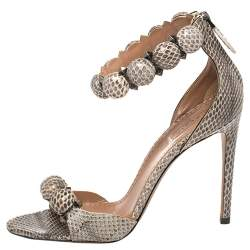Alaia Multicolor Python Chamois Bombe Ankle Cuff Sandals Size 38