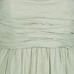 Alberta Ferretti Pistachio Green Linen Ruched Strapless Maxi Dress M