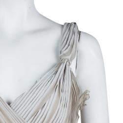 Alberta Ferretti Beige Silk Pleated Pintuck Detail Sleeveless Gown M