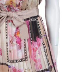 Alberta Ferretti Multicolor Floral Print Pleated Sleeveless Cross Back Dress L