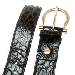 Salvatore Ferragamo Dark Brown Crocodile Belt Size 95 CM
